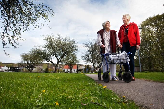 Elder woman walking