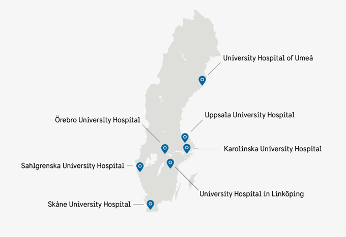 Map that pins out all University hospitals in Sweden